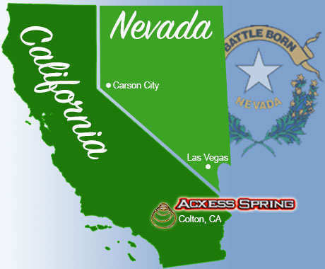 states of California and Nevada showing the locations of Colton, CA and Las Vegas, NV