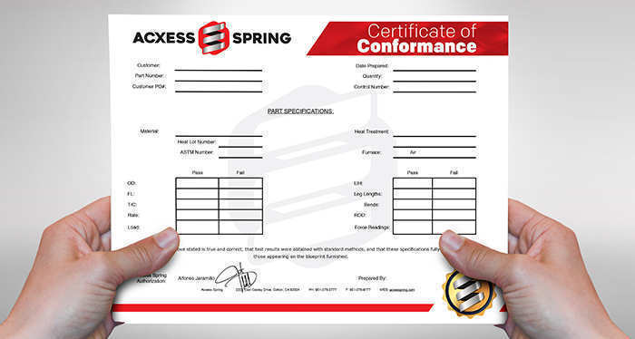 coil spring certificate of conformance