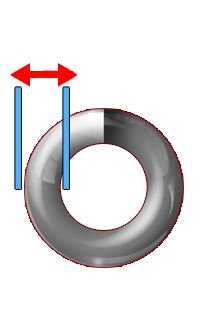a coil with lines and arrows signaling where the wire diameter is