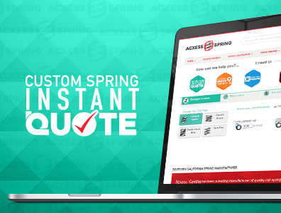 custom spring instant quote tool shown on laptop with logo on side