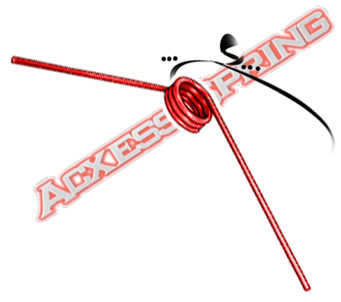 red custom torsion spring with typical legs