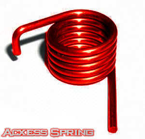 red custom torsion spring with 90 degree offset bend on one leg