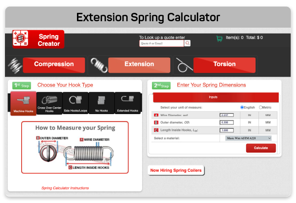 Spring Creator extension spring calculator
