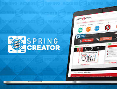 spring creator design tool shown on laptop with logo on side