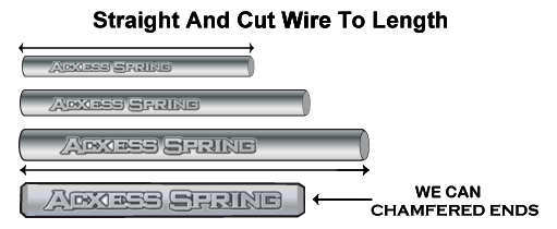 Four different sizes of spring wires straight and cut to different lenghts